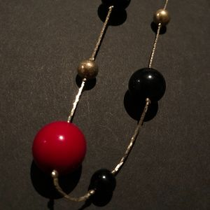 Red, Black, and Silver Necklace